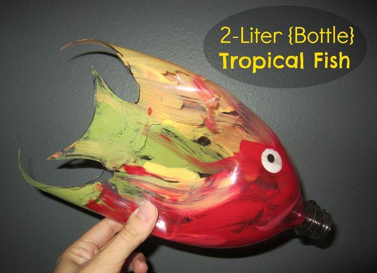 Tropische vis van lege fles - zie de Activitheek van www.doenkids.nl