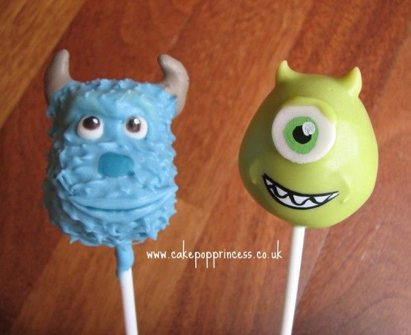 monsters inc cakes | Sulley and Mike cake pops as treats or party favors, either way these ...