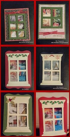 Use old Christmas cards for the scene outside the window.