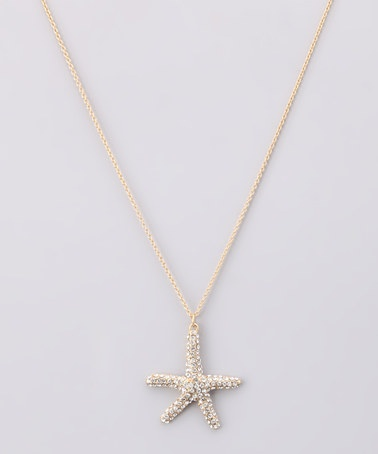 Ooooo!!! Even more so! -  Gold Rhinestone Starfish Pendant Necklace by Marlyn Schiff on #zulily today!