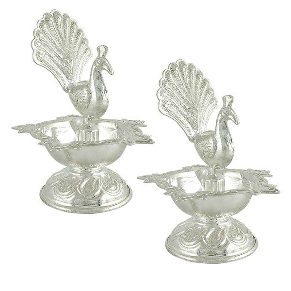 Jpearls Pure Silver Peacock Diyas for Puja | Silver Articles
