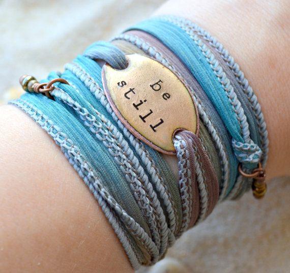 Silk Wrap Bracelet Be Still Boho wrap Silk Ribbon by SailorStudio