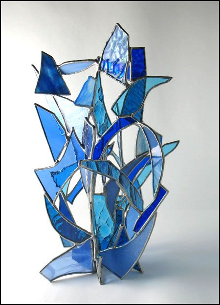 Unleashed, in Blue - Stained Glass Sculpture great for scraps!