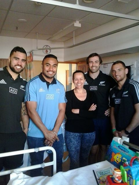 Little Brennagh McKay received a special visit from some members of the NZ all blacks but was feeling camera shy so mum Kathleen  stepped up. To find out more on donating to Brennagh and family you can visit https://www.facebook.com/Onestopaloeshop
