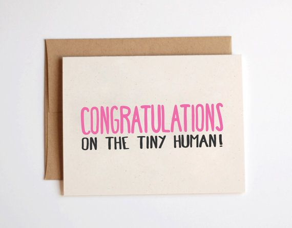 New Baby Card - 'Congrats on the tiny Human' -  New Baby Greeting Card, New Baby, Kraft, Funny, Humor