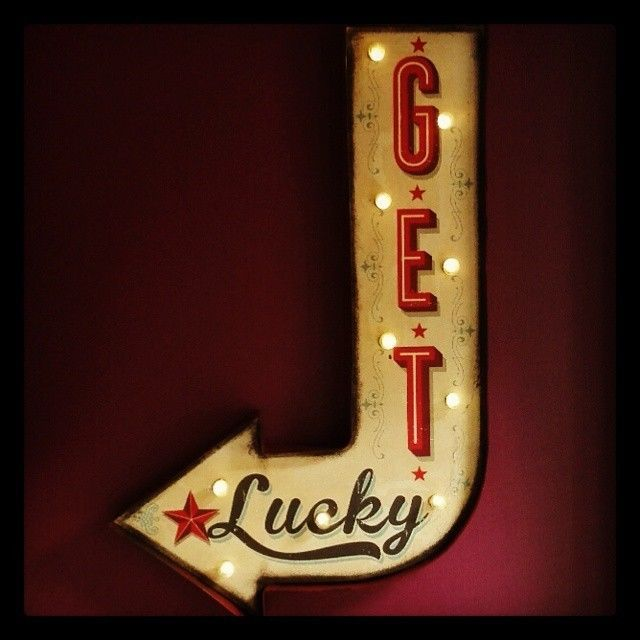 Lighted Kitchen Signs: Get Lucky Arrow Illuminated Carnival Circus Sign Light
