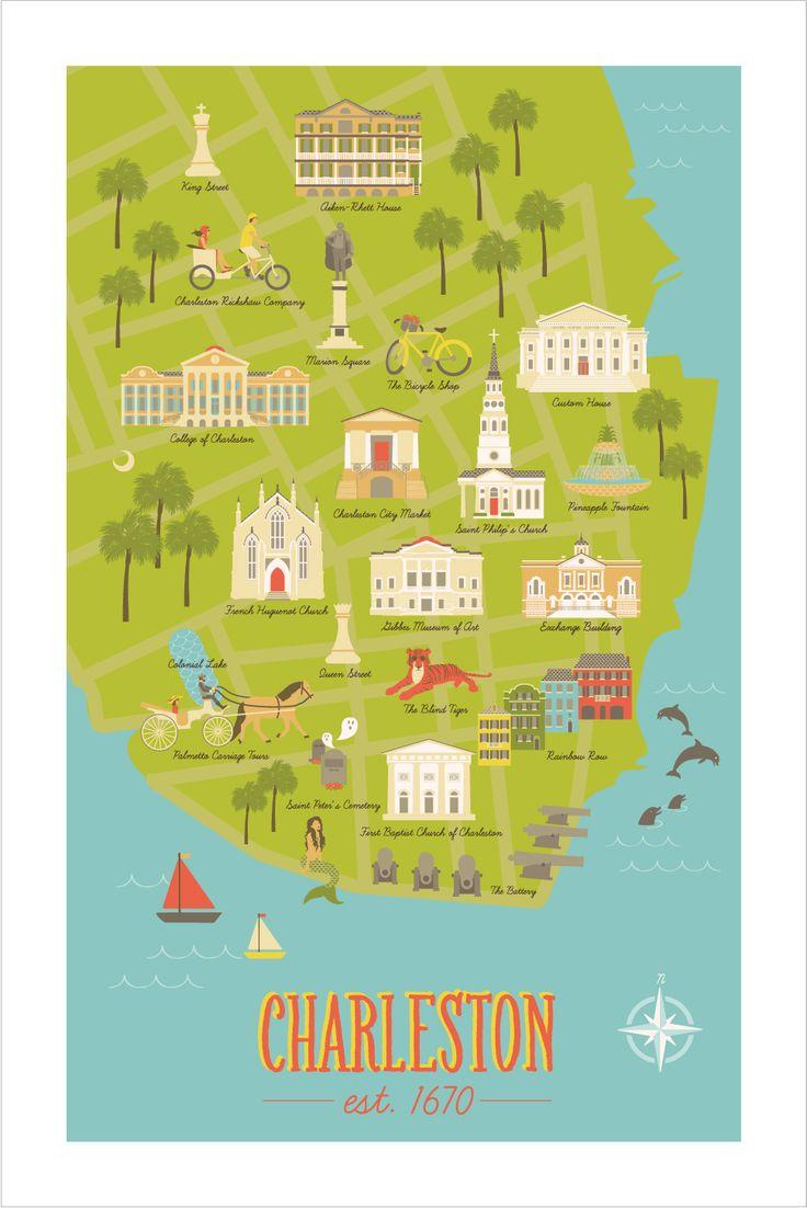 Charleston map illustration - Lisa Mosow,21st century; Visualization, navigation, general reference