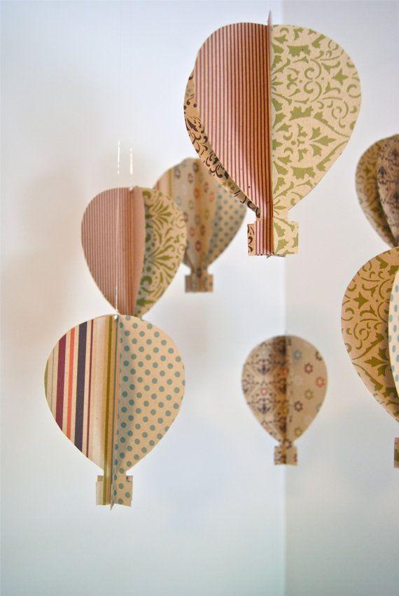Antique 3D Paper Hot Air Balloon MobileChild Room, 3D Paper, Antiques 3D, Scrapbook Paper, Hot Air Balloons, Paper Hot, Balloons Mobiles, Crafts, Babies Rooms