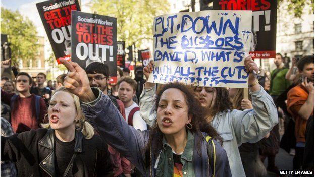 """United Kingdom - Protest against facist Conservative election """"victory""""   Protesters in Westminster"""