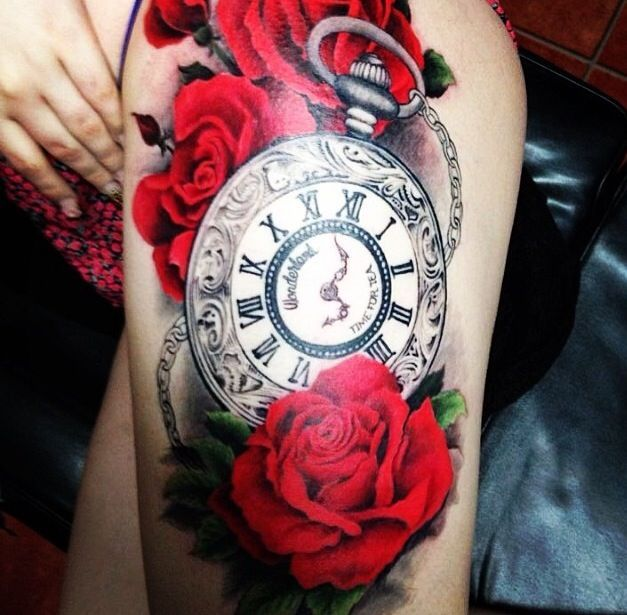 roses and clock tattoo - Google Search
