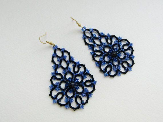 Blue earrings tatted earrings tatting от TattingLaceJewellery