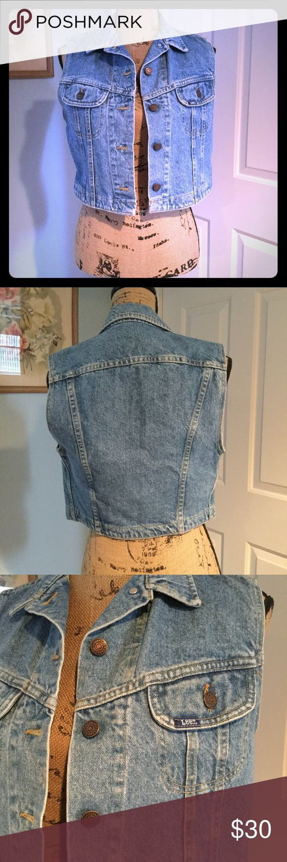 Lee cropped sleeveless denim jacket Fabulous Lee jean crop vest. No size tag, would work best for size small. Adorable vintage vibe, a must have! Lee Jackets & Coats