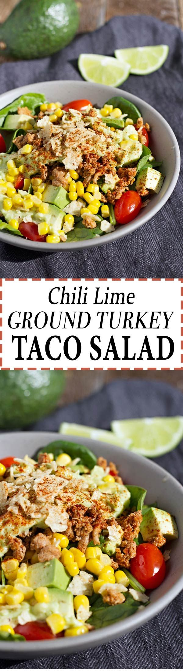 Delicious Chili Lime Ground Turkey Taco Salad!