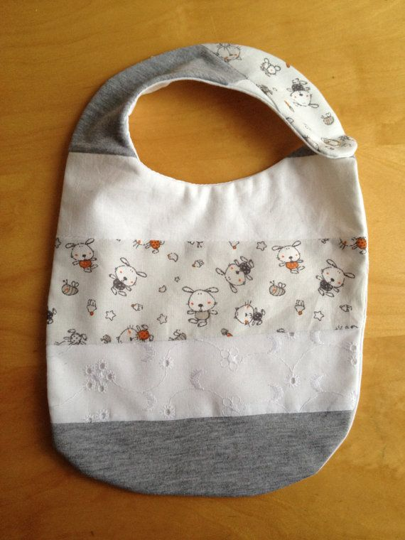 Striped bib  gray/pets/broderie anglaise by CaterinaMorelli
