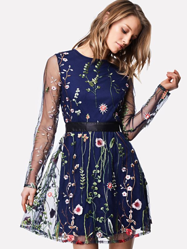 0a5896b6a4 Embroidered Mesh Overlay Fit & Flare Dress -SheIn(Sheinside) | Shein ...
