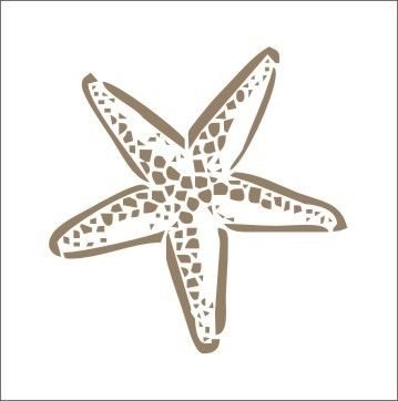 Stencil star fish #2 ocean beach shell tropical island 5 x 5 inches
