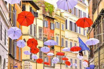 umbrella decoration in trastevere with europe flag