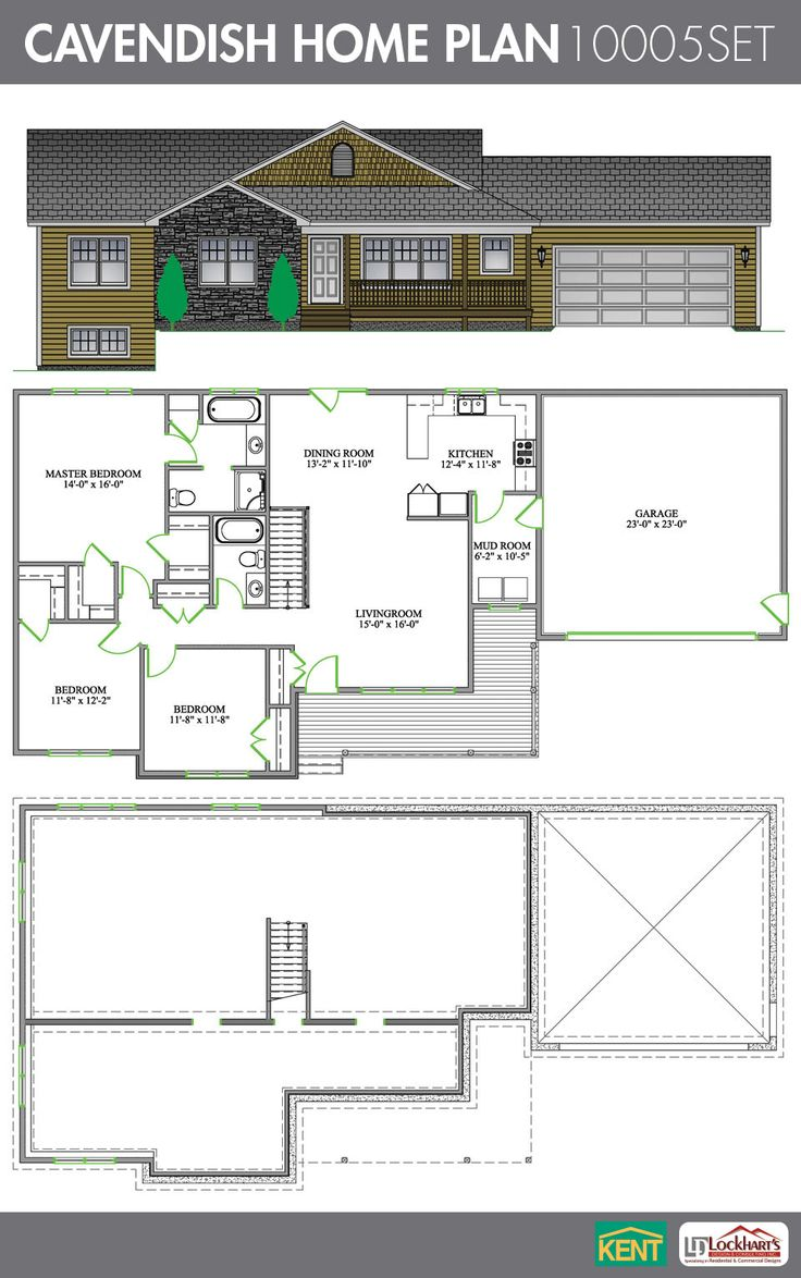 Cavendish 3 Bedroom 2 Bath Home Plan Features Large Master With En Suite Open Concept Living Room Dining Mud Space For A Washer