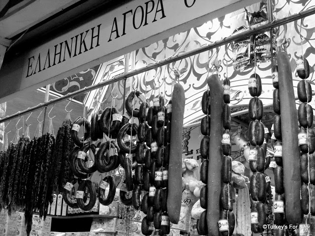 Cured Meats - sucuk and pastırma at Mısır Çarşısı (Egyptian Spice Bazaar) Istanbul. http://www.turkeysforlife.com/2012/11/istanbul-egyptian-spice-bazaar-in-black.html