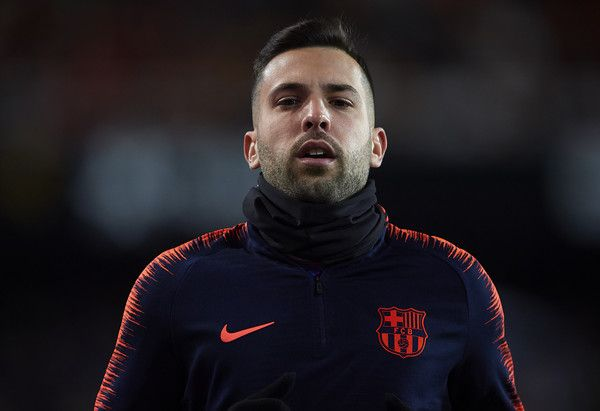 Jordi Alba of Barcelona warm up prior to the Copa del Rey semi-final second leg match between Valencia and Barcelona on February 8, 2018 in Valencia, Spain.