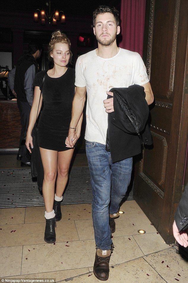 Couple alert: Margot left with her boyfriend Tom Ackerley