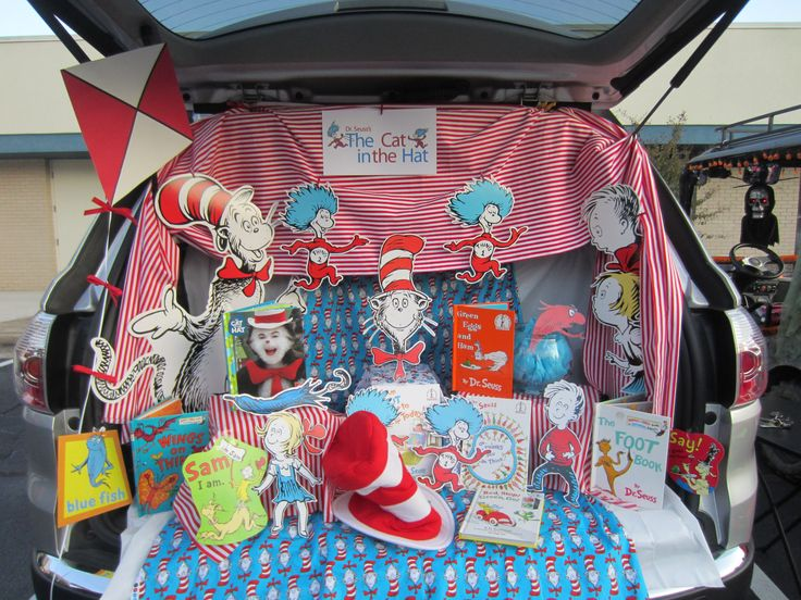 cat in the hat trunk or treat i used our collection of dr seuss books and i had the cat in the hat fabric and the redwhite striped fabric on hand - Halloween Supply Store