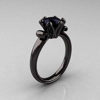 Antique 14K Black Gold 1.5 CT Black Diamond Engagement Ring