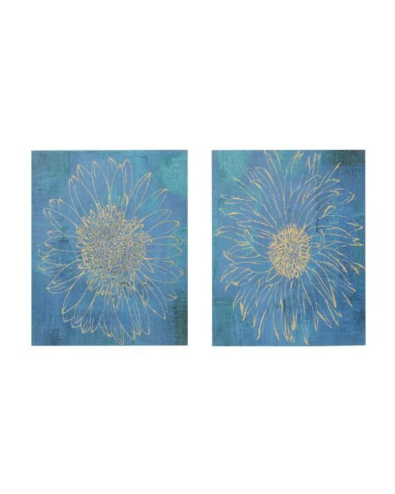 Iridescent Bloom Gel Coated Canvas Wall Art Set Of 2 Wall Art