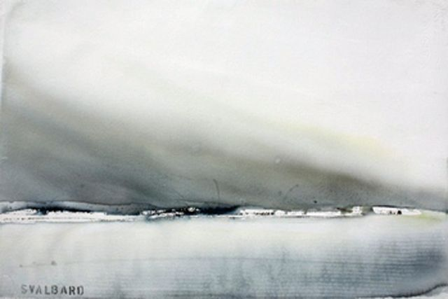 susanne norberg , svalbard, water colour 36 x 54