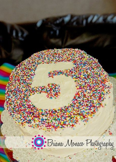 Place number on cake, sprinkle with sprinkles.