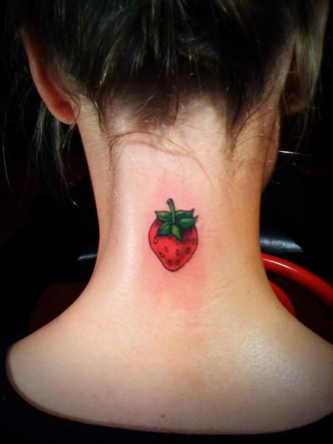 I agree, not on the neck. The strawberry is way cute though