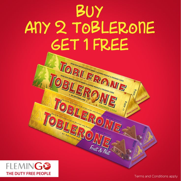 Extra Chocolates make for happy travelers. Buy 2 #Toblerone #FruitandNut #CrushedCorn and get 1 FREE.
