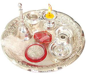 Pure silver puja thali pooja samagri pinterest for Aarti thali decoration with rice