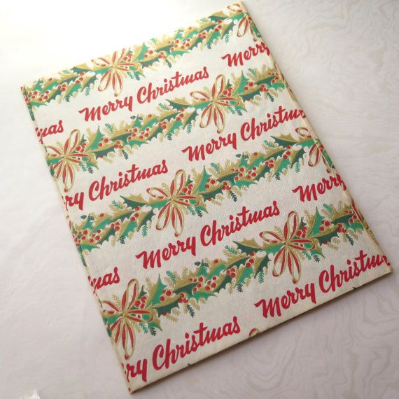 Mid Century Christmas Wrapping Paper Merry by stonebridgeworks