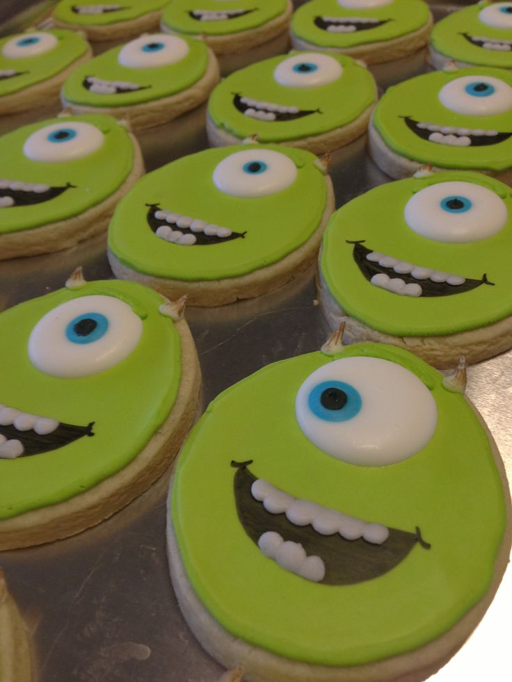 Monsters Inc cookies Mike  (Made with a giant egg shaped cutter)