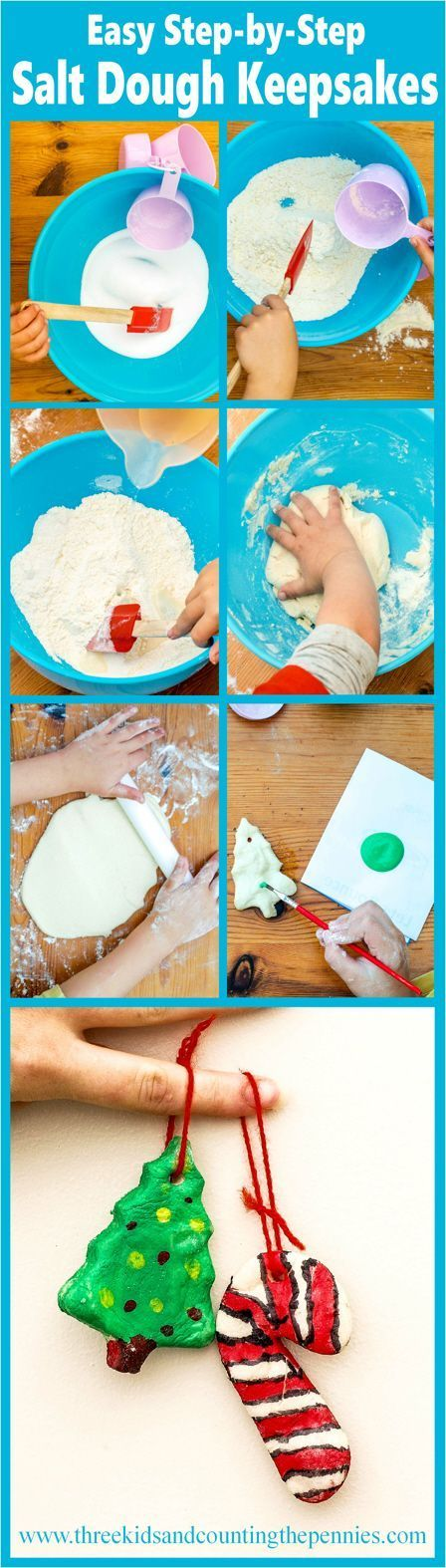 The kids loved getting messing making these Easy Step-by-Step Salt Dough Keepsakes. They've created lasting Christmas Tree decorations and a few scary Halloween trinkets, too. All you need is 1 cup of salt, 2 cups of all-purpose flour (plain), and 1 cup of water.