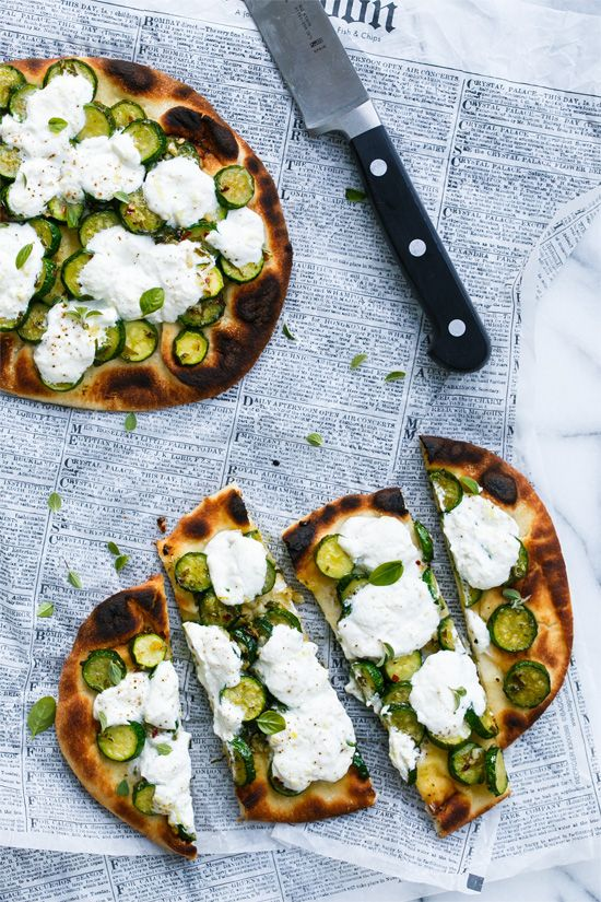 Zucchini Naan Flatbread with Lemon Ricotta | Love and Olive Oil | Bloglovin'