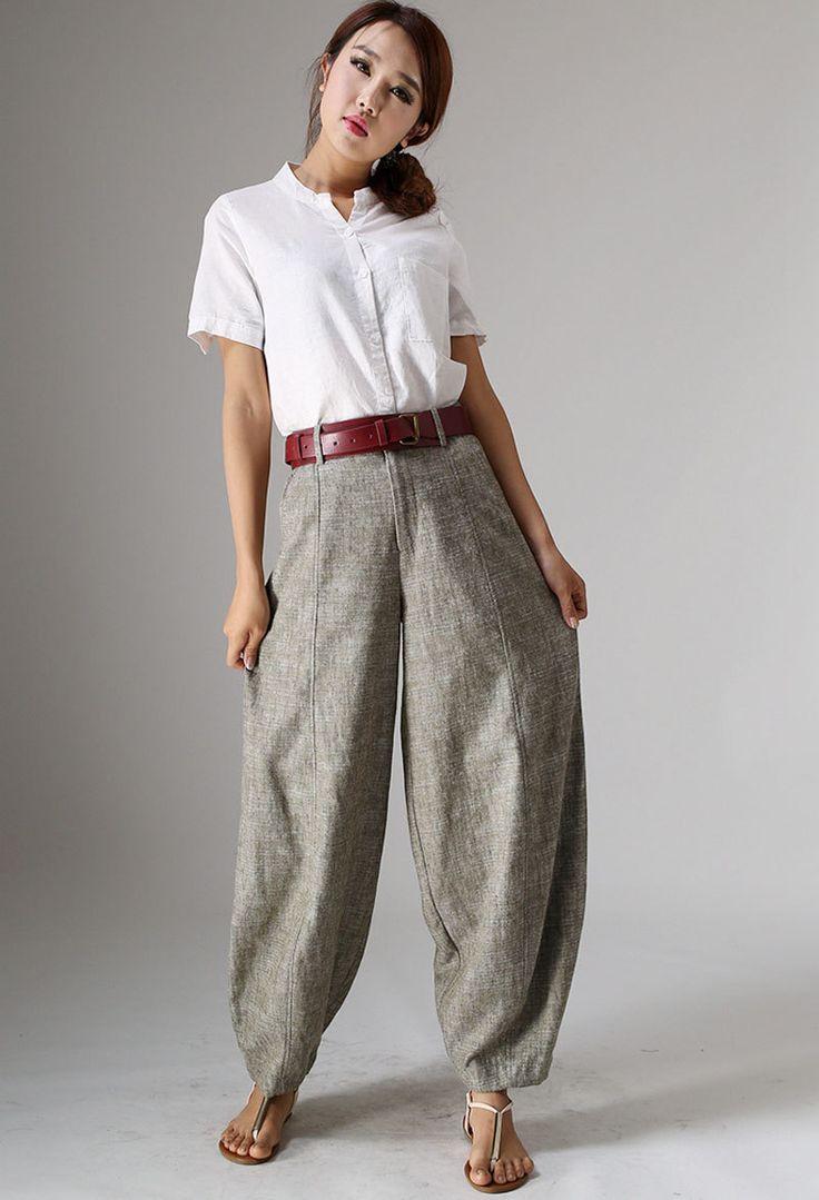 Linen Pants baggy pants maxi pants Beige pants womens by xiaolizi