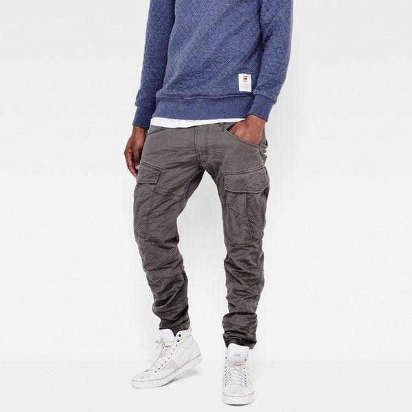 G-Star Raw Rovic Slim Pants ($170) ❤ liked on Polyvore featuring men's fashion, men's clothing, men's pants, men's casual pants, gs grey, mens grey dress pants, mens elastic waistband pants, mens fleece lined cargo pants, mens adjustable waist pants and mens 5 pocket pants