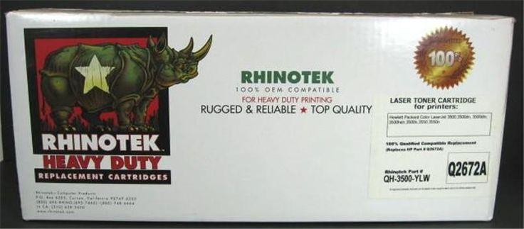 NOS Rhinotek Compatible Replacement Laser Toner Cartridge Q2672A Yellow      w #Rhinotek