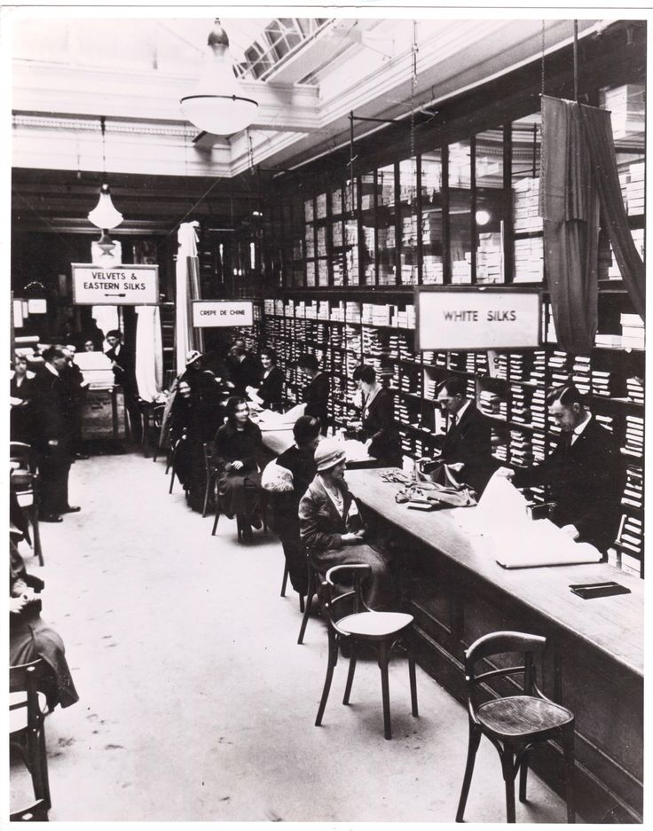 The silk room at one of the John Lewis stores in the 1930s.