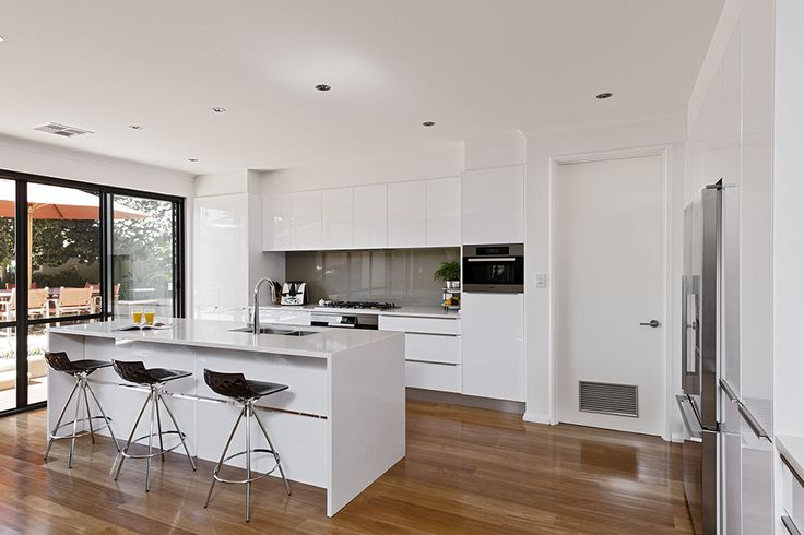 Furnipart Trim Pull Handles in White Kitchen with Blackbutt Timber Floor