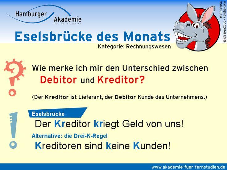 Eselsbrücke: Wie merke ich mir den Unterschied zwischen Debitor und Kreditor?