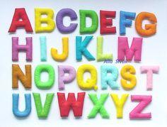 Colorful feutre alphabet, Alphabet en peluche, feutre lettres, Educatif alphabet jeu, préscolaire, à la main, lettres de peluche, feutre ABC