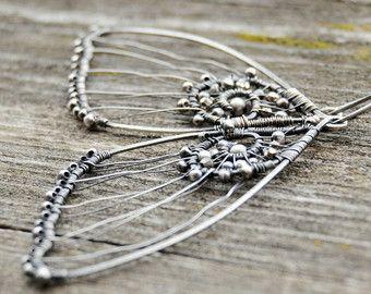 Moth earrings, Night Butterfly skeleton earrings, Wire wrapped earrings, Pyrite earrings, Insect earrings, Insect jewelry, Nature earrings