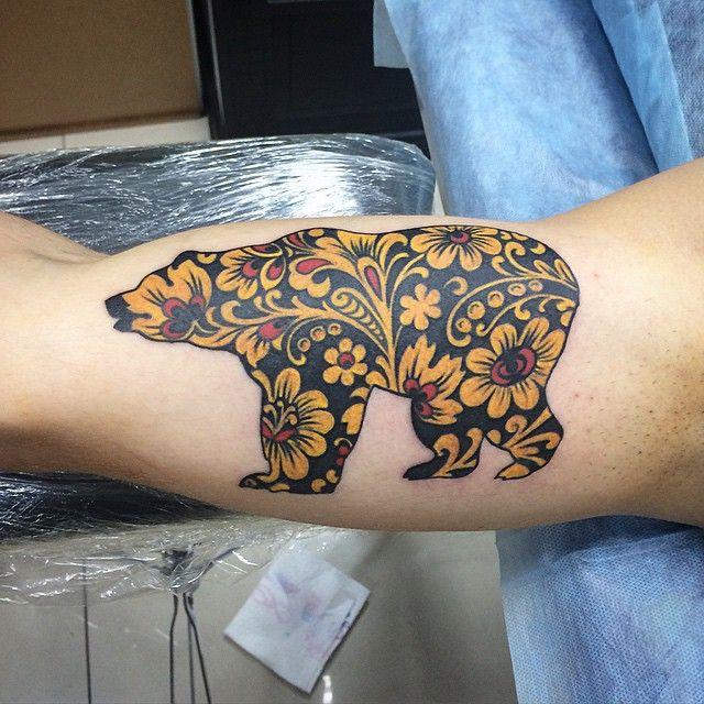 Russian hohloma bear tattoo art