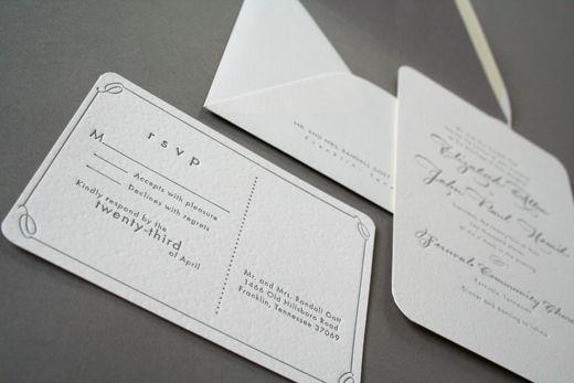 Classic Gray White Calligraphy Letterpress Wedding Invitations Arboreal3 Elizabeth + Johns Classic Calligraphy Wedding Invitations