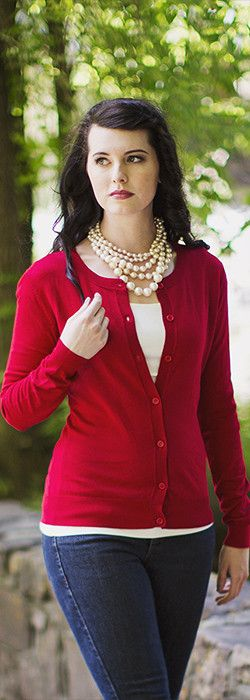 A solid round neck buttoned cardigan that pairs well with a top, skirt or a dress. Can be worn casually or professionally.