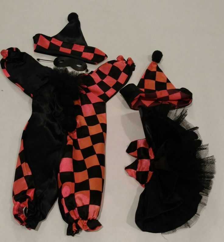 Terri lee and Gerri Lee doll clothes, pink and black jester outfits #TerriLee #ClothingAccessories