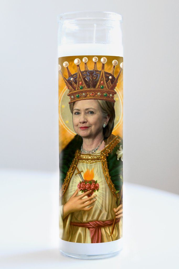 """Hillary Clinton  Saint Hillary Clinton featured on Illuminidol's Texas-made 8"""" prayer candle. The most divine way to bless any Hillary disciple  Texas Made 8"""" in height Unscented Ships anywhere in the US via Priority Mail International Shipping? Please contact info@illuminidol.com Custom and Wholesale options available  #hillaryclinton #politics #president #america #usa #feminist #popular #famous #celebrities #candles #art #beautiful #blessed #lit #funny #lol #austin #texas #local #business"""